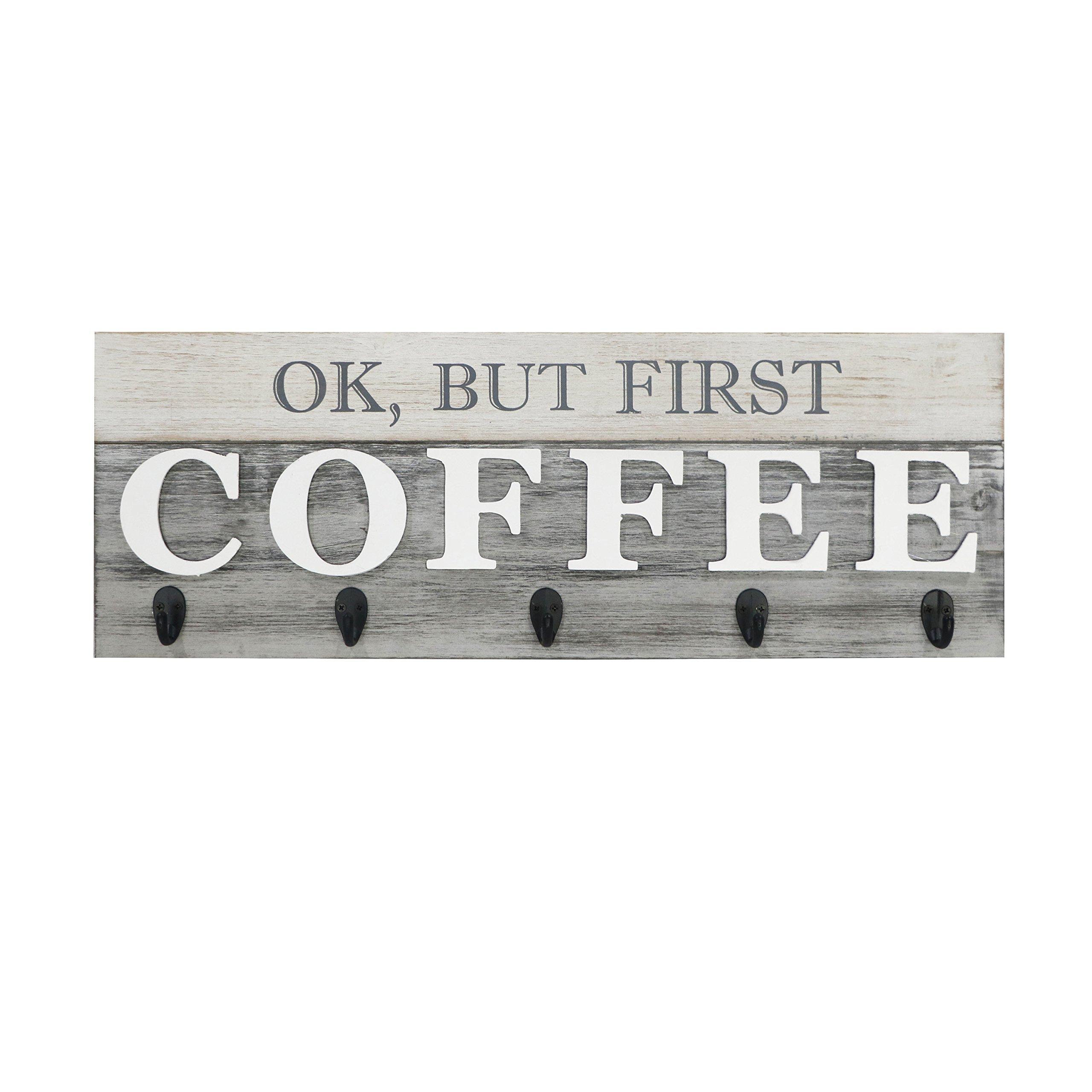 Barnyard Designs 'Ok, But First Coffee' Mug Holder - Rack - Display, Rustic Farmhouse Wood Coffee Wall Decor Sign for Kitchen, Bar, Cafe 24'' x 8.5'' by Barnyard Designs