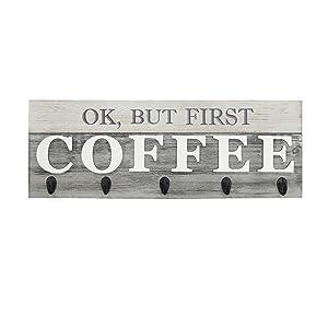 "Barnyard Designs 'Ok, But First Coffee' Mug Holder - Rack - Display, Rustic Farmhouse Wood Coffee Wall Decor Sign for Kitchen, Bar, Cafe 24"" x 8.5"""