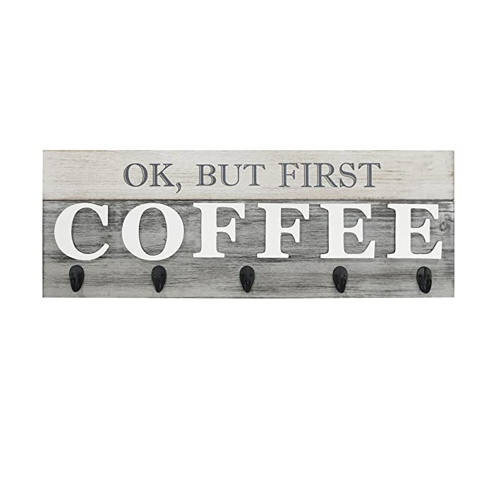"Barnyard Designs 'Ok, But First Coffee' Mug Holder - Rack - Display, Rustic Farmhouse Wood Coffee Wall Decor Sign for Kitchen, Bar, Cafe 24"" x 8.5"""