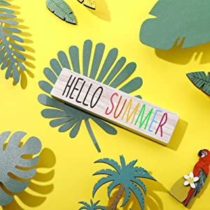 Jetec Hello Summer Sign, Wooden Farmhouse Hello Summer Block Sign, Rustic Summer Sign Tiered Tray Decor 8 x 2 Inch for Summer Home Indoor and Outdoor