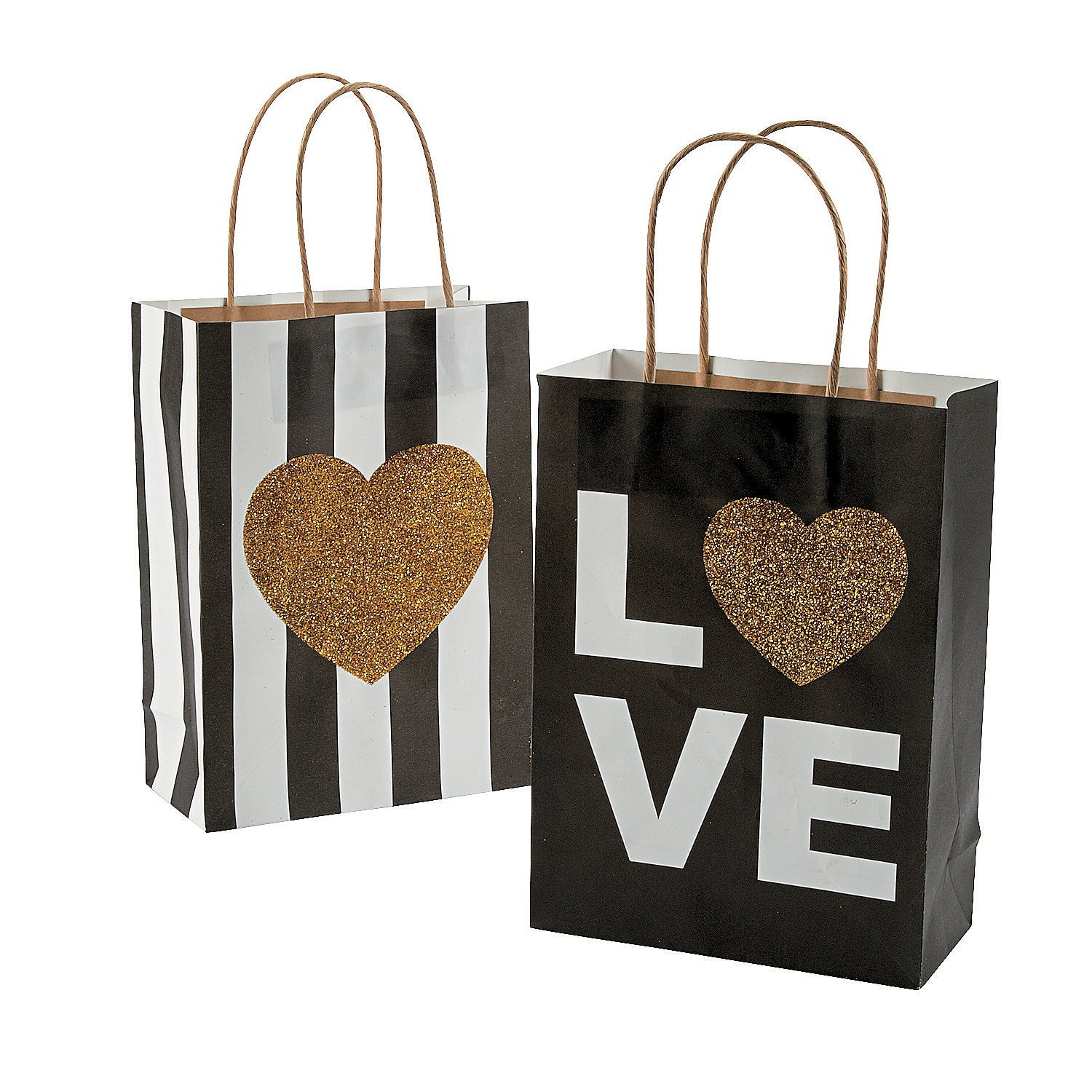 12 Black & Gold Glitter Wedding Kraft Paper Bags (12 Pack) Gold Heart