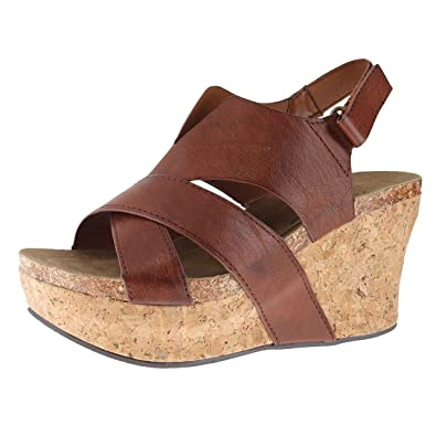 45e020f61681 Pierre Dumas 22616 Whiskey Womens Wedge Sandals Size 6M