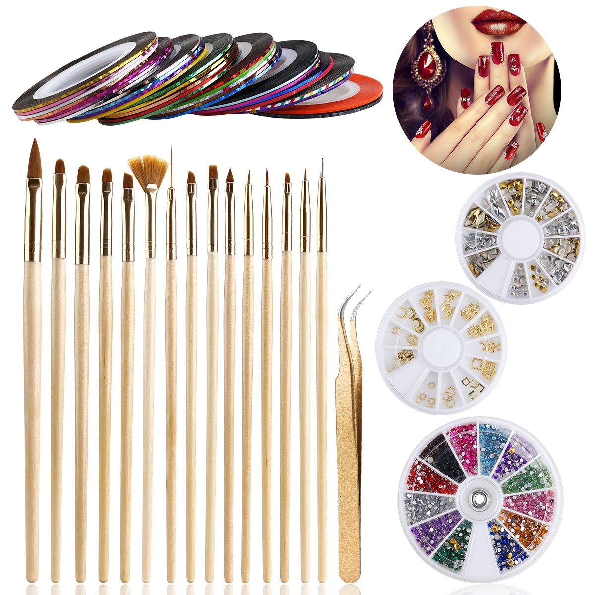 ETEREAUTY Nail Art Kit Includes 15 Nail Art Brushes, 30 Rolls ...