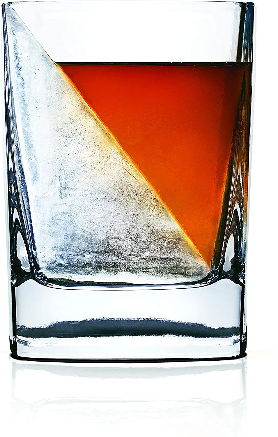 2Pcs//Set Whiskey Wedge Iced Whisky Glass Cup Mug With Silicone Ice Cube Mould