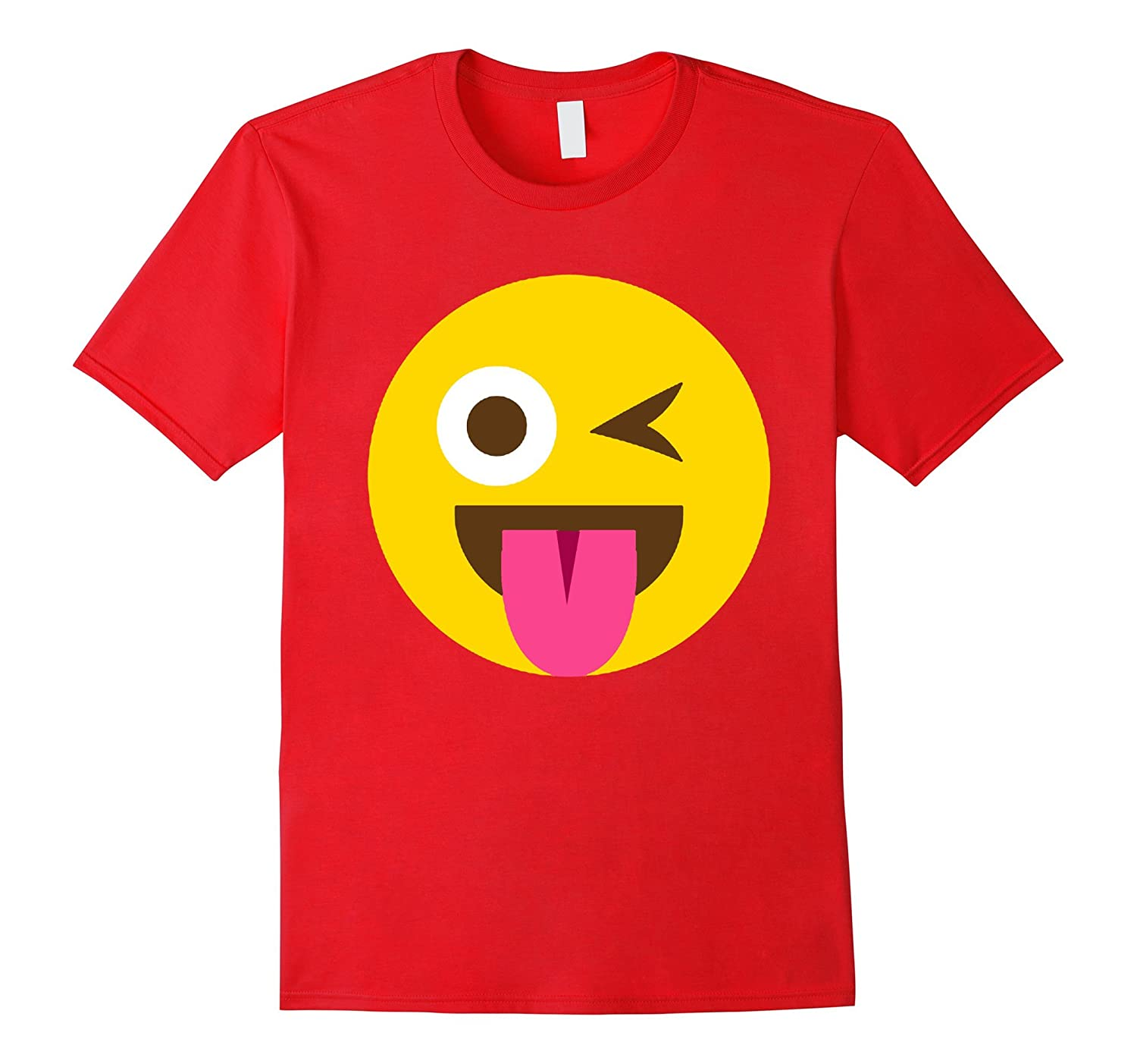 Tongue Out One Eye Open Wink Funny Emoticon Emoji T-shirt-azvn