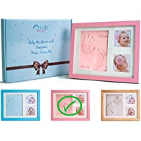 Baby Handprint & Footprint Photo Frame Kit - Premium Casting No Mold Clay - Box Ready for Boy Girls Baby Shower Gifts…