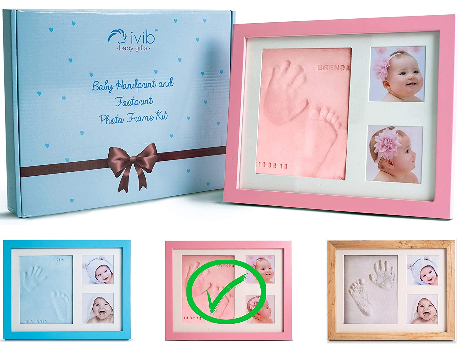 Baby Handprint & Footprint Photo Frame Kit - Premium Casting No Mold Clay - Box Ready for Boy Girls Baby Shower Gifts - Newborn Keepsake Personalized Picture Frames - Wall/table - Free Stamp Set- Pink