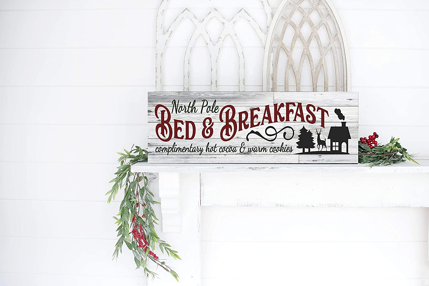 18 Inch North Pole Bed & Breakfast Christmas Wood Sign