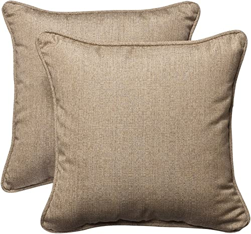 Pillow Perfect Outdoor/Indoor Linen Sesame Throw Pillows