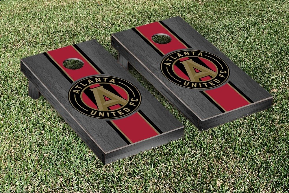 Atlanta United FC Cornhole Game Set Onyx Stained Stripe Version by Victory Tailgate