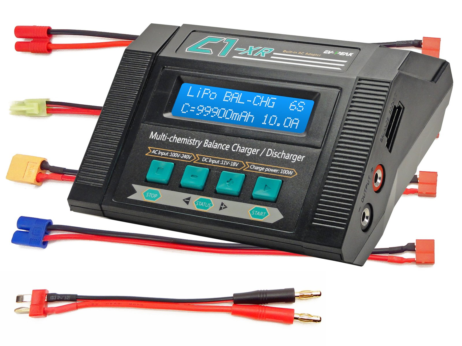 C1-XR AIR 10Amps 100Watts LiPo LiHV LiIo LiFe NiCd NiMh AC/DC Multi-Chemistry Balancing Battery Charger w Internal Resistance Terminal Voltage Control Battery Meter Deans XT60 EC3 Tamiya Mini Walkera