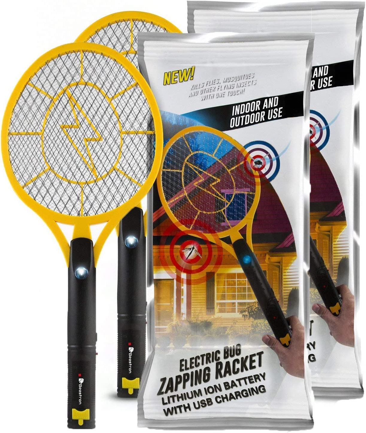 Beastron Rechargeable Bug Zapper, 3000 Volt Usb Charging, Electric Fly Killer Racket, Led Light 3 Layer Mesh Safe to Touch Large Size,pack of 2