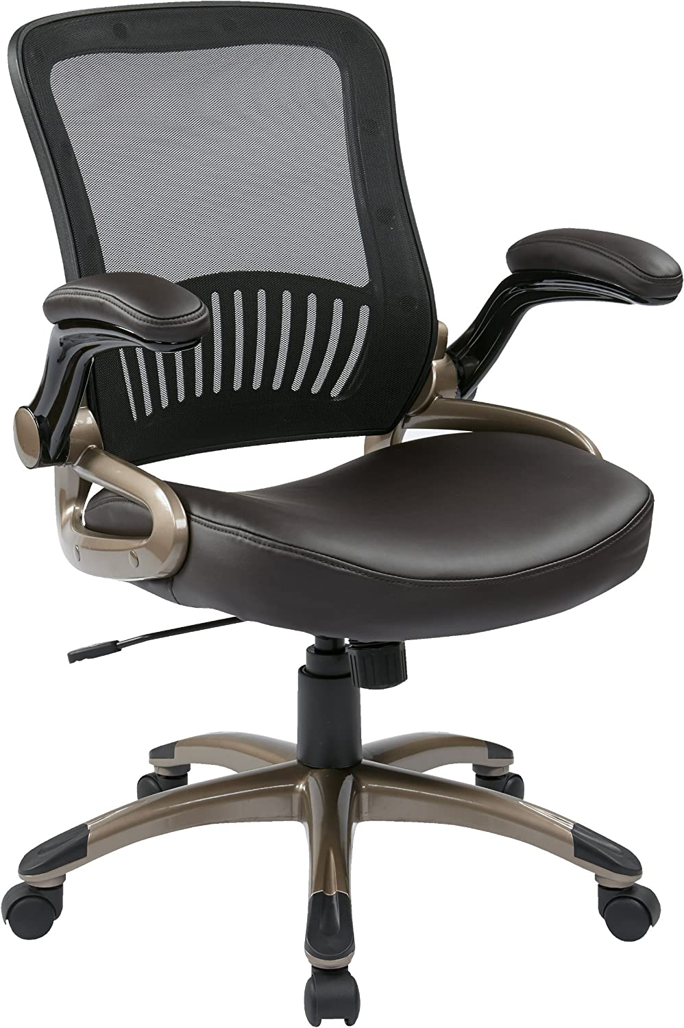 Office Star Screen Back & Eco Leather Seat Managers Chair, Espresso