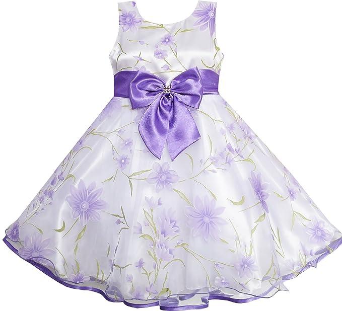 Sunny Fashion ER21 3 Layers Girls Dress Diamond Bow Tie Purple Girl Size 2-3