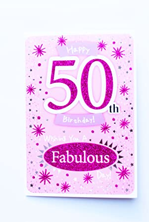 Happy 50th Birthday Card For Her Womens Ladies Female Poem Verse Luxury