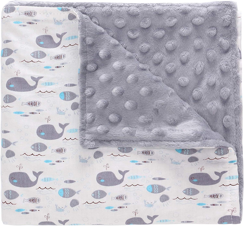 Miracle Baby Manta Bebe Algodón,Manta Coralina Bebe Algodón, Suave y Confortable,Swaddle Wrap Saco de Dormir para Niños 110 * 140(Grande,Ballena)