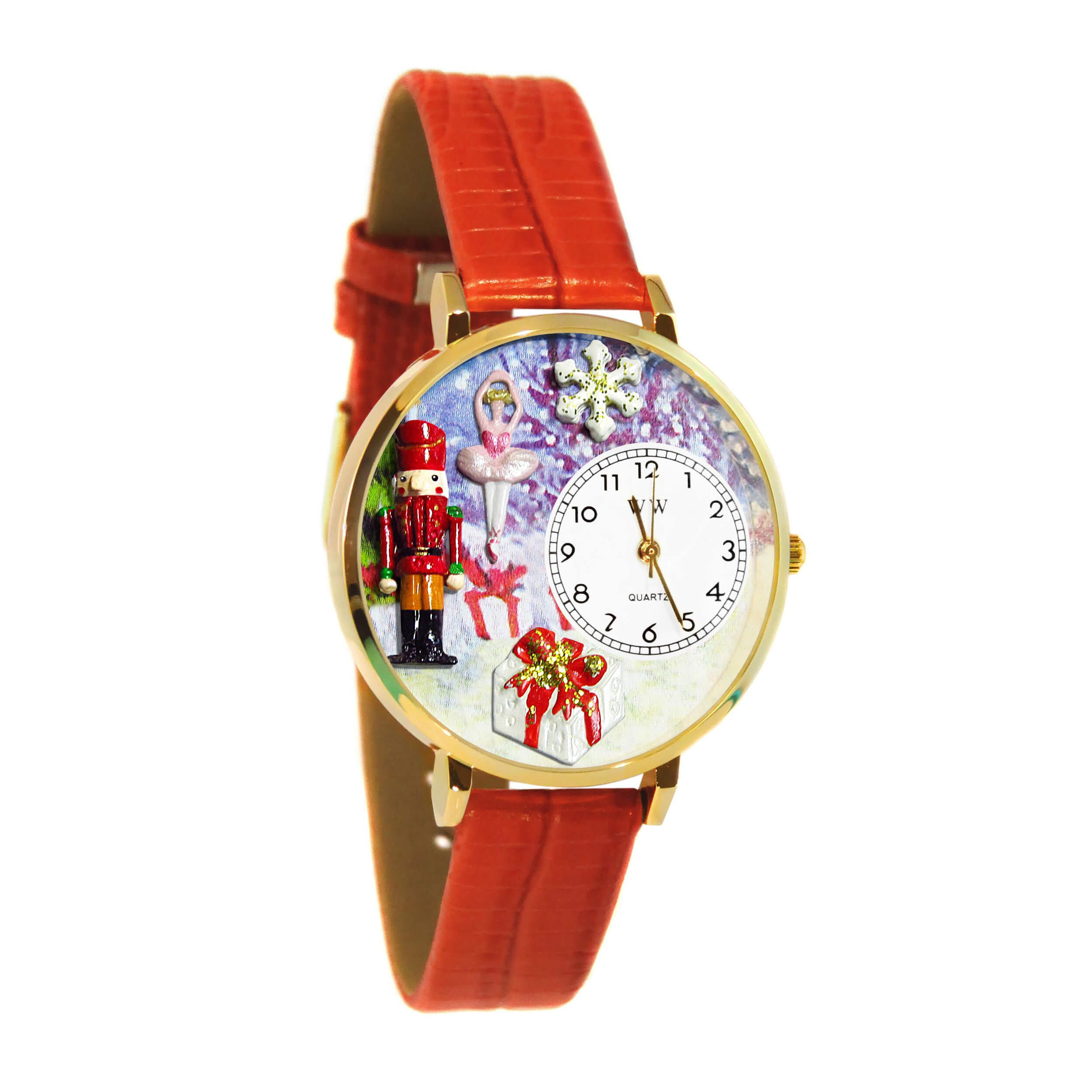 Whimsical Watches Women's G1220010 Christmas Nutcracker Red Leather Watch