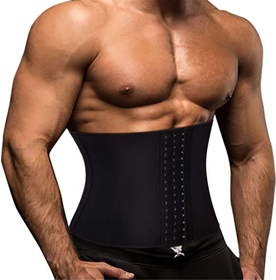 Latex Waist Trainer Vest for Men Black Waist Cincher Firm Tummy Slimming Male