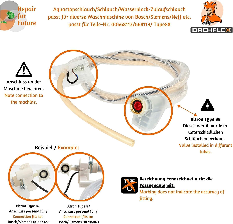 tubo flessibile di mandata per lavastoviglie BITRON Type 88 90002 15319 AQUASTOP-Tubo flessibile