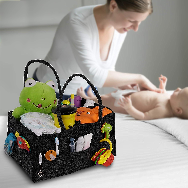 Toallitas de Beb/é Bolsas Bebe Bolsos de Mama Crema Almacenamiento con Compartimentos Cambiables Pa/ñaleras de Bebe 18cm de Alto x 34,5cm de Ancho x 23cm de Profundidad