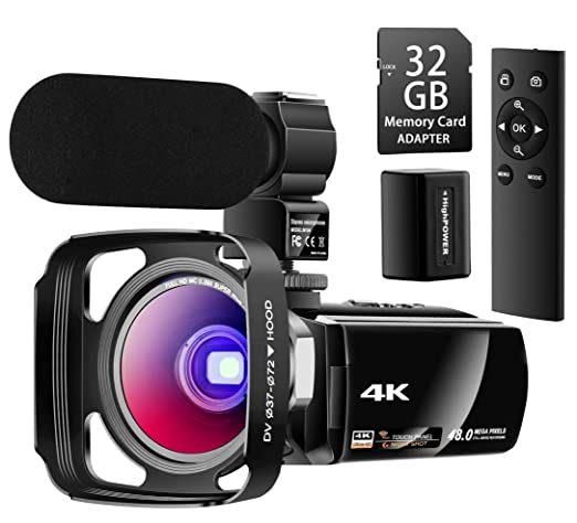 Besungo Ultra HD 4K Camcorder Video Camera with Rechargeable Microphone 2.4G Remote Control