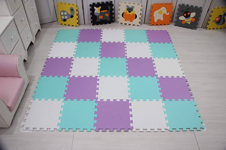 QQC-KLb18N 30*30*1cm Jigsaws Puzzle Board Portable Foldable qqpp Mat,Soft EVA Foam Baby Play Mats For Floor 18 Tiles Purple /& Gray