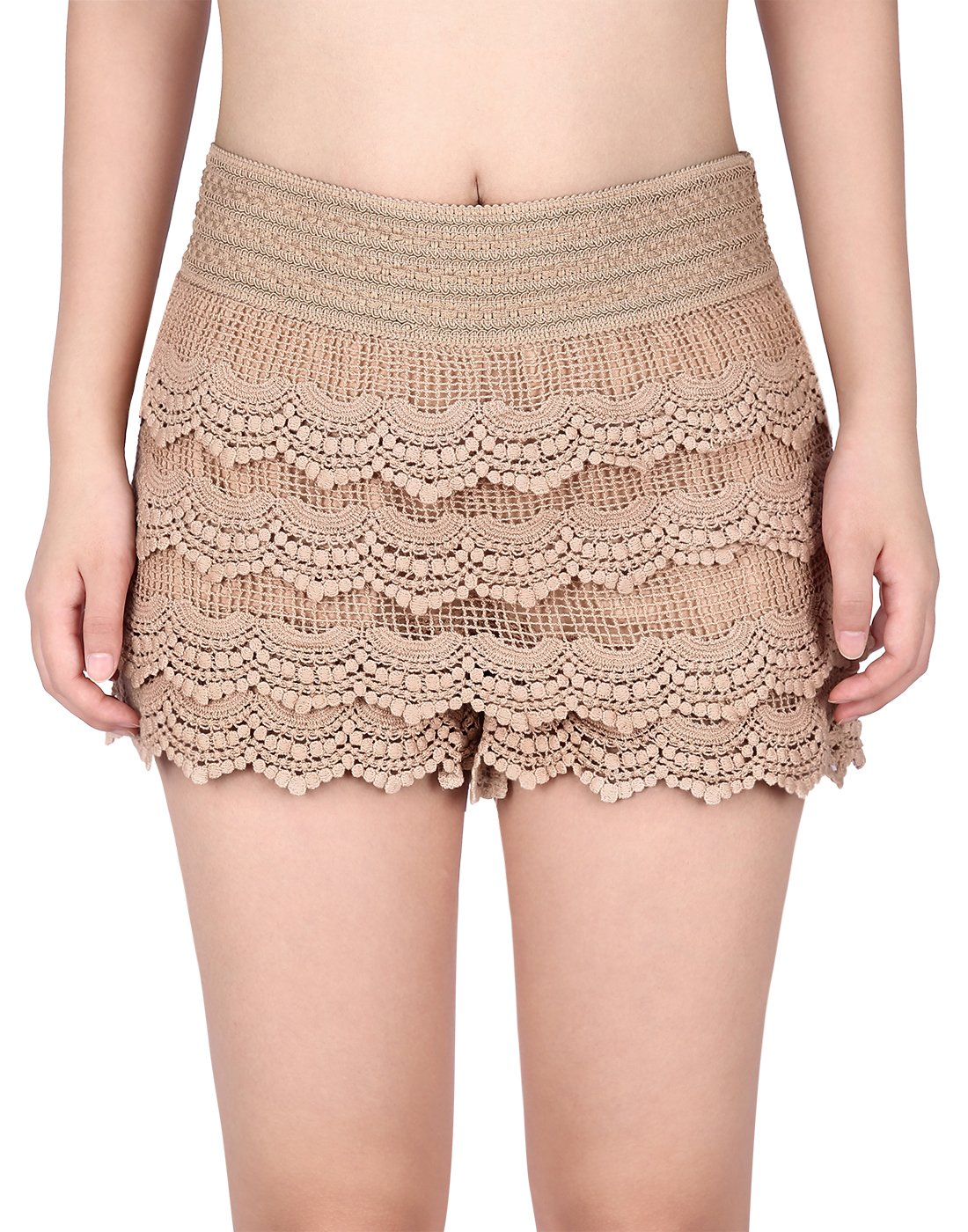 HDE Women's Lace Shorts Fitted Scallop Hem Crochet Mini Hot Pants - Taupe, Small (US 2/4)