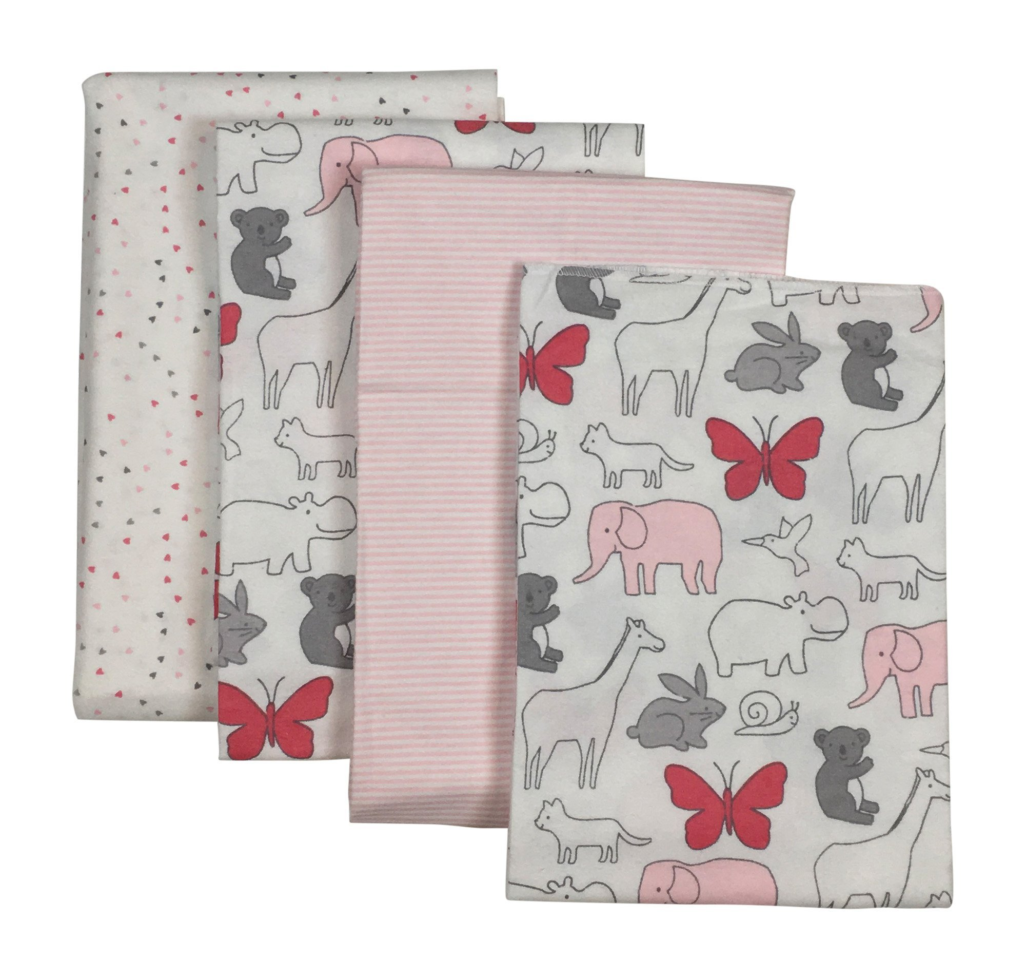 Carters 4-Pack Receiving Blanket Animals & Hearts Pink by Carter's