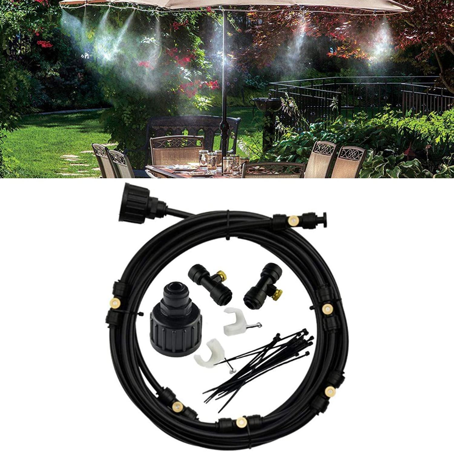 """Espak Outdoor Preassembled Misting Cooling System - 10m (38.8 Feet) Patio Mister 3/4"""" Adapter 10 Brass Sprayers Garden Cooling System"""