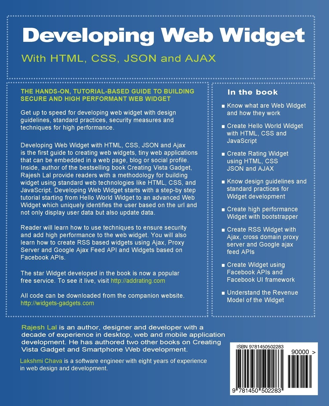 developing web widget with html css json and ajax a complete guide to web widget rajesh lal lakshmi c chava 9781450502283 amazoncom books