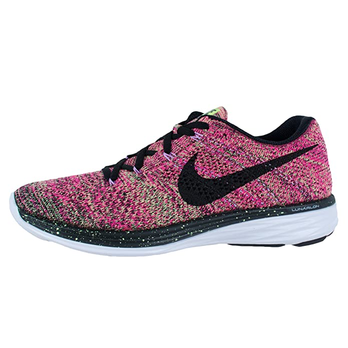 new concept 8d87a ed498 Nike Womens Flyknit Lunar 3 Running Shoes Pink Ghost Green Fuchsia  698182-302 Size 9, Running - Amazon Canada