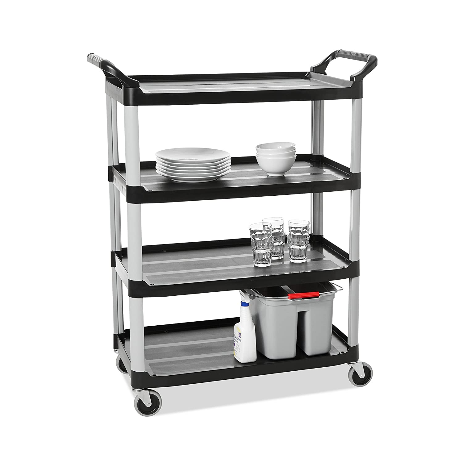 B000LE6MO8 Rubbermaid Commercial Products Heavy Duty 4-Shelf Rolling Service/Utility/Push Cart, 300 lbs. Capacity, Platinum, for Foodservice/Restaurant/Cleaning (FG409600BLA) 61UpqYStOxL