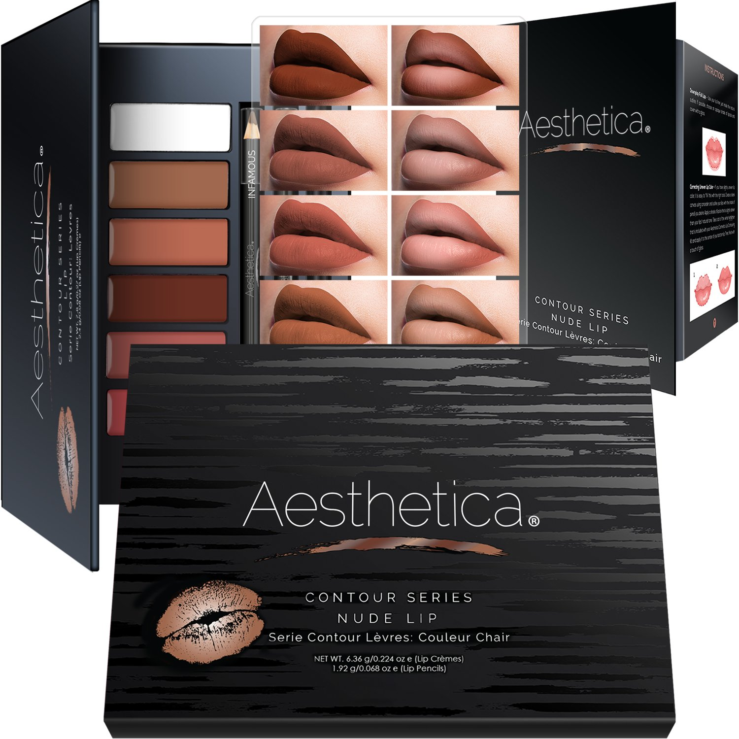 Aesthetica Nude Lip Contour Kit - Contouring and Highlighting Matte Lipstick Palette Set - Includes Six Lip Crèmes, Four Lip Liners, Lip Brush and Step-by-Step Instructions - Vegan & Cruelty Free by Aesthetica