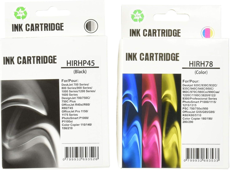 PerfectPrint - Conjunto de 2 Compatible HP 45 y 78 cartuchos de tinta Officejet 1170 G55 G85 G95 K60 K80 Photosmart 1000 1100 1115 1215 1218 1215vm 1218xi 1315 P1000 P1100 P1215 P1100xi P1215vm P1218 P1315 P1218xi: Amazon.es: Oficina y papelería