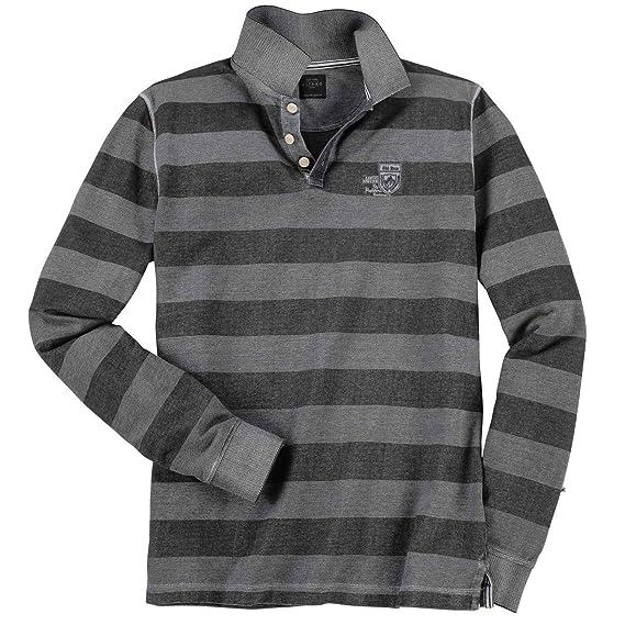 8c71baa6424f Kitaro Poloshirt mit modischen Streifen und Ski Run Print Langarm  Amazon.de   Bekleidung