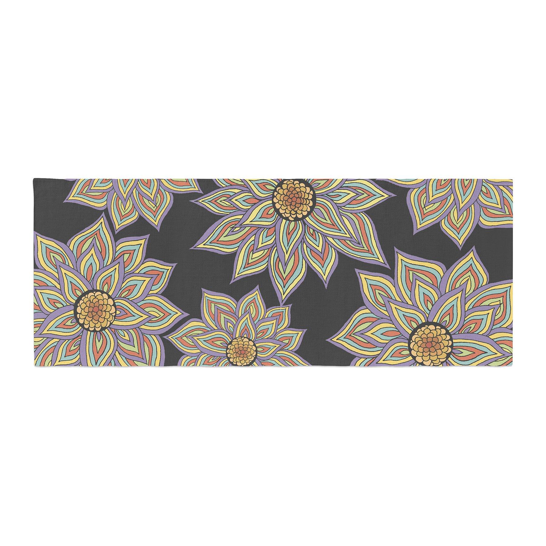 Kess InHouse Pom Graphic Design Floral Dance in the Dark Bed Runner, 34'' x 86''