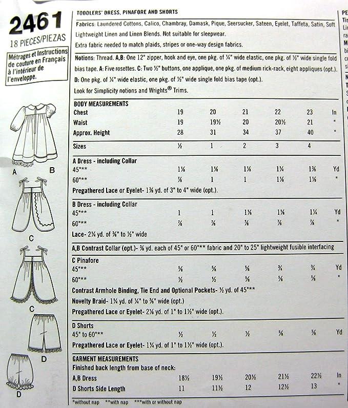 Simplicity 2461 - Patrones de costura para vestidos de niñas (varias ...