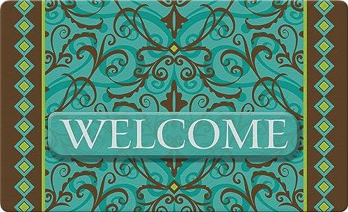 Toland Home Garden Damask Welcome 18 x 30 Inch Decorative Floor Mat Classic Design Doormat