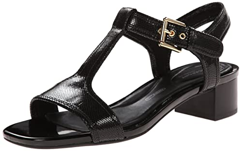 ae82432016d Rockport Women s Total Motion 40mm Block Heel T-Strap Sandal Black Snake  Foil Sandal 6