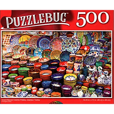 Grand Bazzar Colorful Pottery, Istanbul, Turkey - 500 Pieces Jigsaw Puzzle: Toys & Games