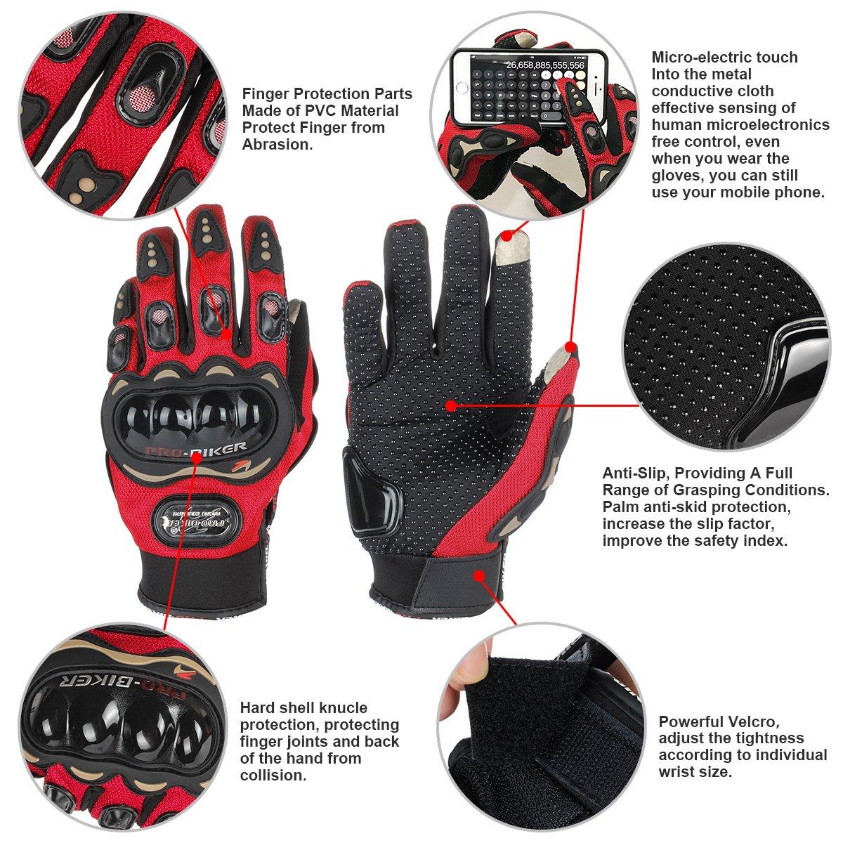 M, Negro GES Men Outdoor Motorbike Waterproof Gloves Motocicleta Full Finger Touch Screen Racing Motocross Guantes