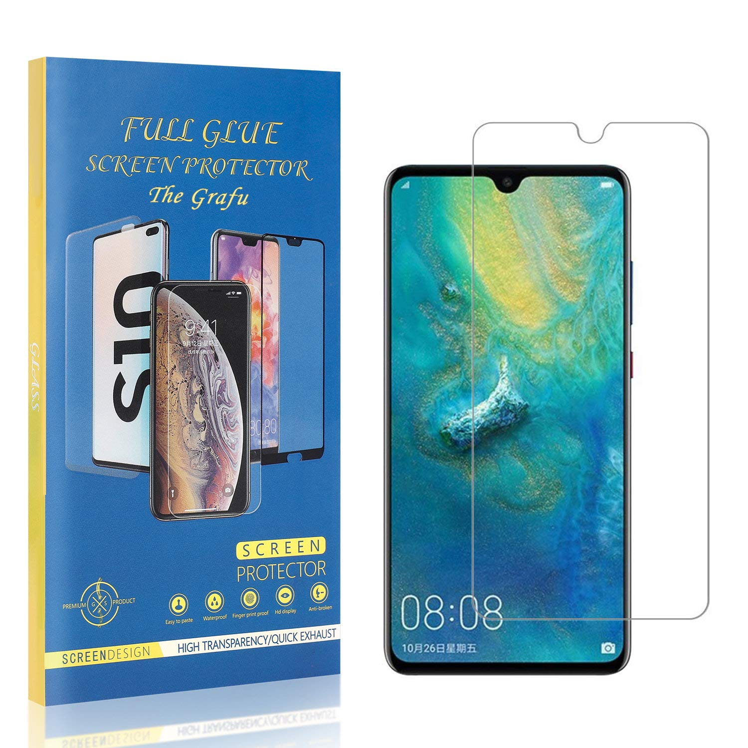 3 Pack The Grafu Screen Protector for Huawei Mate 10 Pro Easy Installation Tempered Glass Bubble Free High Transparency Screen Protector for Huawei Mate 10 Pro