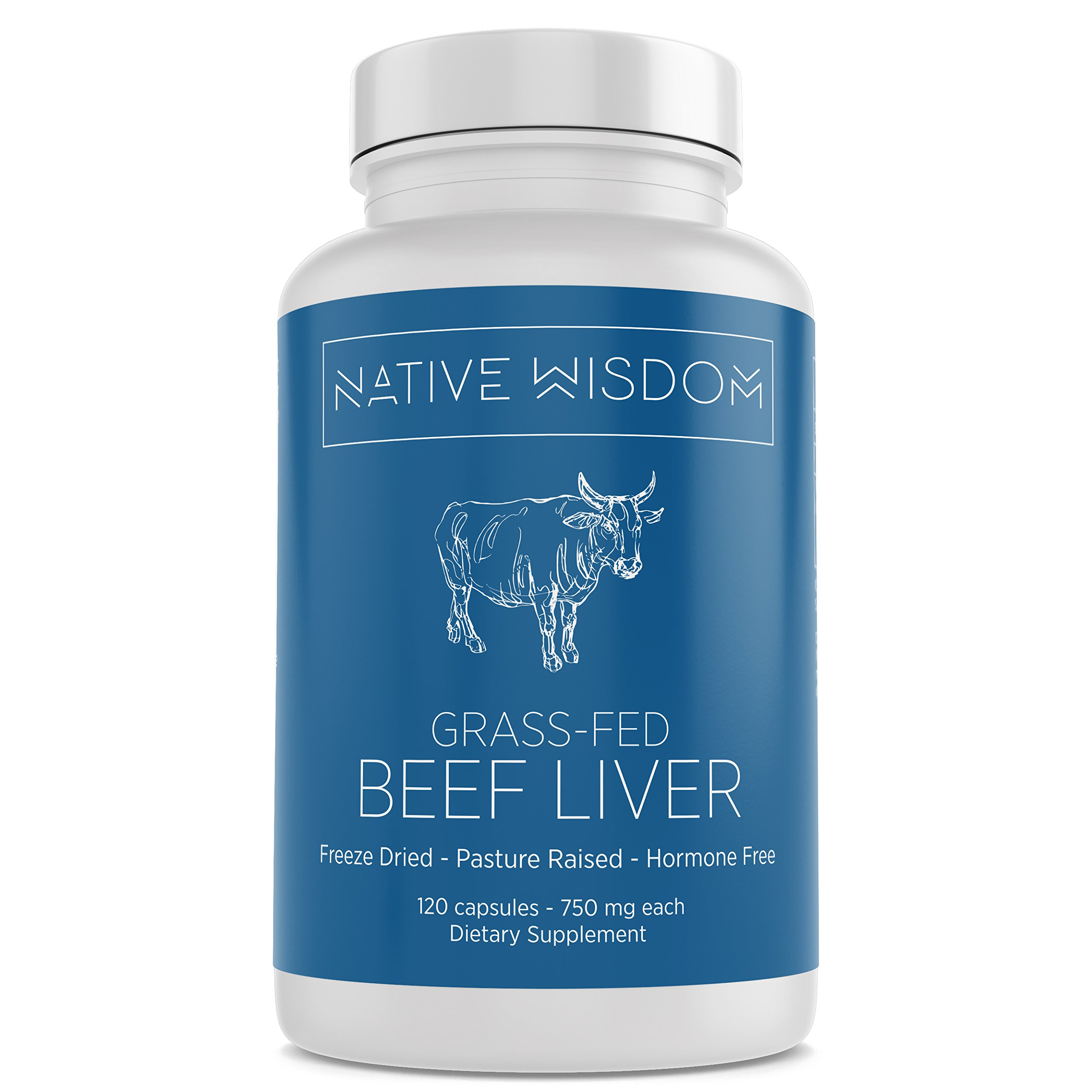 Native Wisdom - Grass Fed Beef Liver (Desiccated) - 100% New Zealand Grass Fed & Grass Finished - Whole Food Vitamin A, B12, Iron, Zinc, Folate (3000 mg Serving, 120 Capsules)
