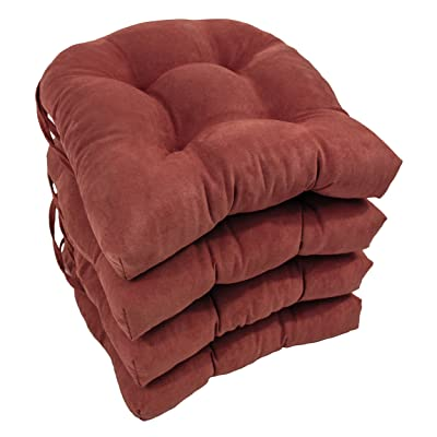 "Blazing Needles Solid Microsuede U-Shaped Tufted Chair Cushions (Set of 4), 16"", Red Wine: Home & Kitchen"