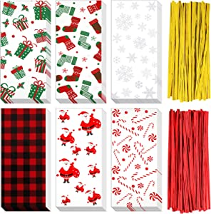 90 Pieces Christmas Treat Bags Party Cellophane Bags 6 Styles Christmas Socks Christmas Trees Candy Snowflake Snowman Red Golden 200 Pieces Twist Ties for Christmas Halloween Holidays