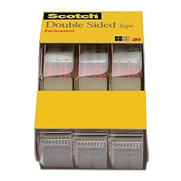 Scotch - Rollo de cinta adhesiva de doble cara con dispensador, no Mess, 1/2 x 250 cm, 3/Pack Caddy (3136): Amazon.es: Oficina y papelería