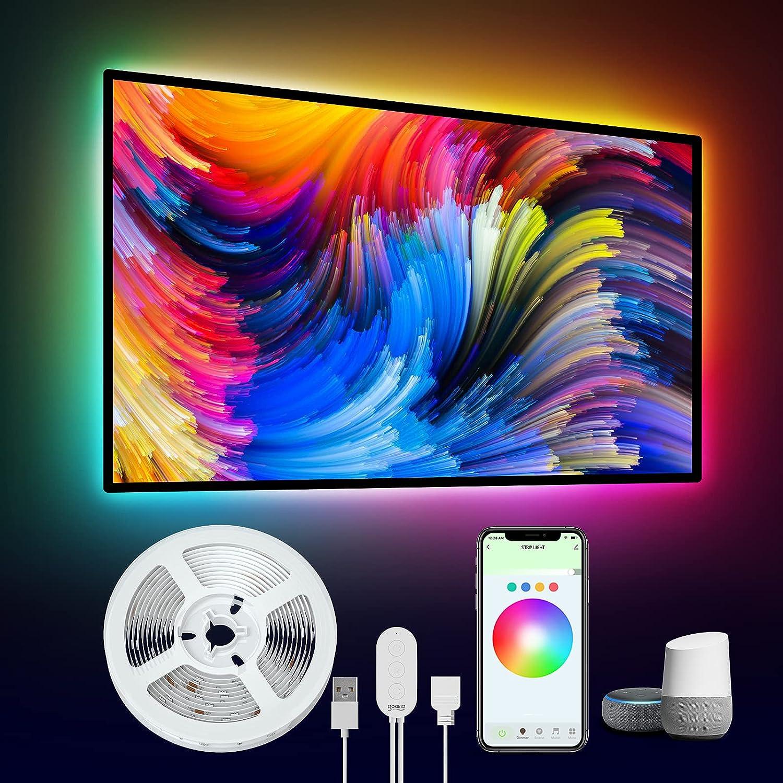LED Lights for TV, Gosund 9.2ft Smart LED TV Backlights Works with Alexa Google Home, Color Changing Light Strip with 8 DIY Scene Modes & Music Mode, RGB LED Lights for 24-60 inch TVs Computer Bedroom