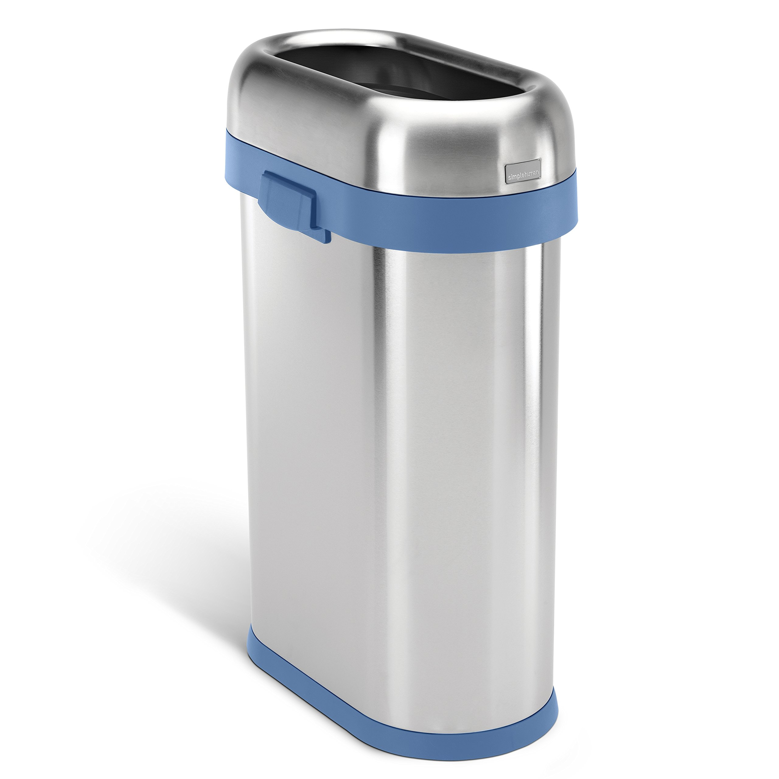 simplehuman Slim Open Commercial Trash Can with Blue Trim, Heavy-Gauge Brushed Stainless Steel, 50 L/13 Gal