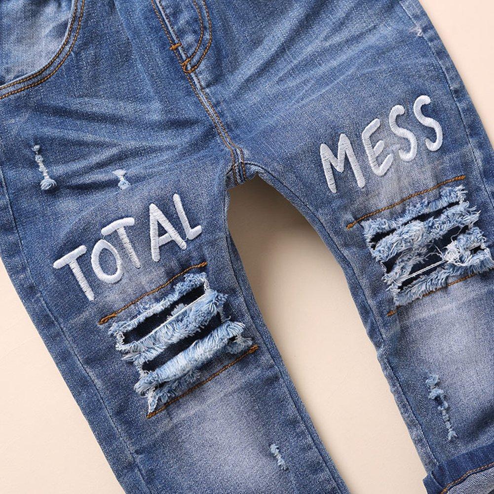 Kidscool Baby and Little Girls Elastic Waist Ripped Holes Denim Pants Jeans Blue 3 - 4 Years by Kidscool (Image #6)