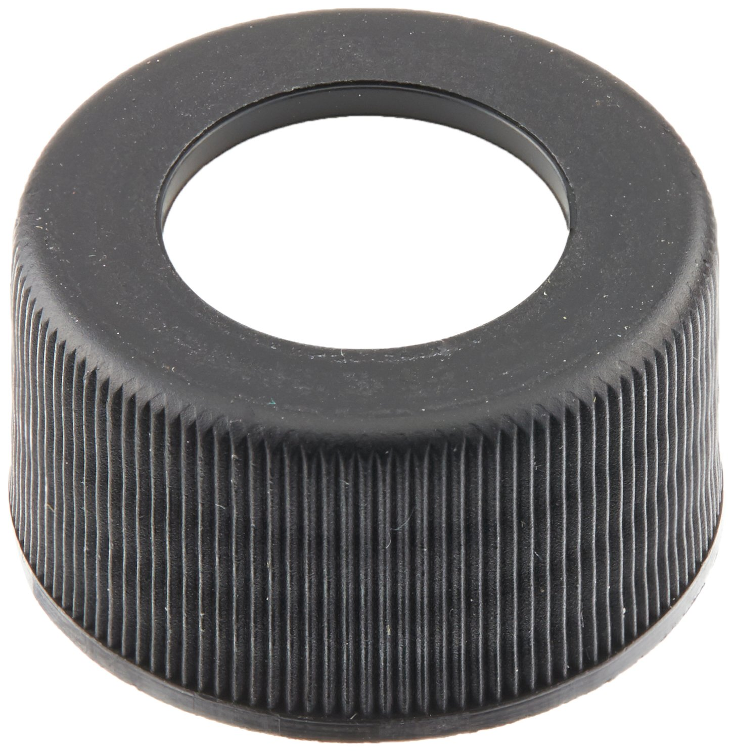 JG Finneran 34-375BLK Polypropylene Open Hole Closure with Fixed 0.060'' PTFE/Silicone Liner for Environmental VOA Vials , 24-414mm Cap Size, Black (Pack of 100)